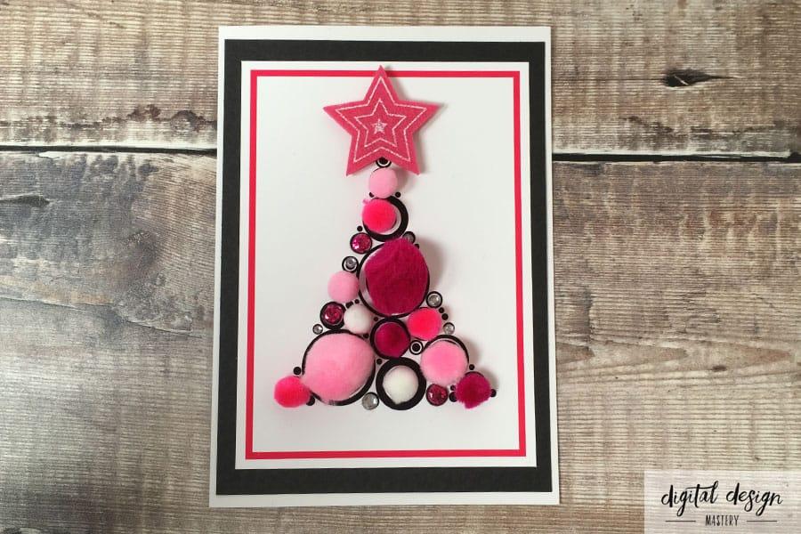 Pink pompom Christmas tree card instructions: Step 5