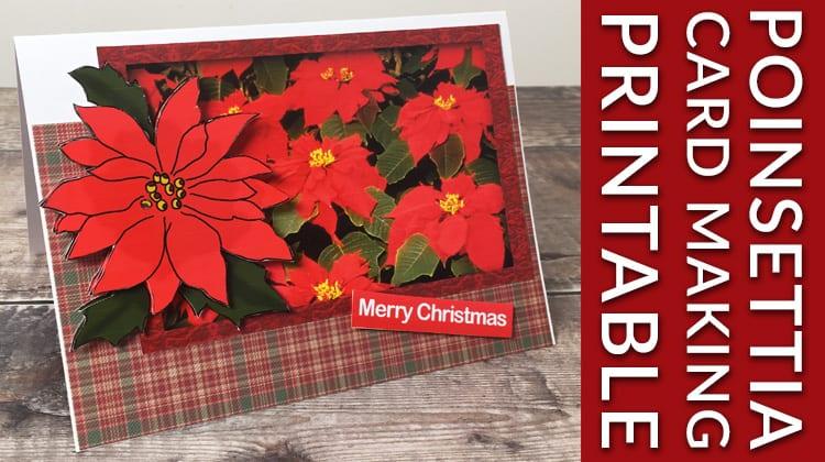 ** Free printable ** Christmas poinsettia card making download. Free decoupage poinsettia printable for handmade cards.