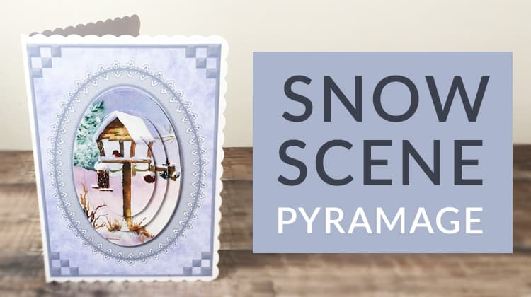 A free snow scene Christmas pyramage card making download for handmade Christmas cards