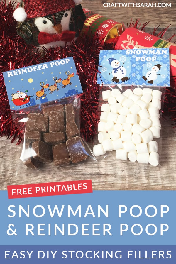 Quick and easy chocolate stocking fillers for kids. Free printables are included for both Reindeer Poop and Snowman Poop stocking fillers. Make these easy DIY stocking fillers for Christmas from Santa. #freeprintables #stockingfillers #digitaldesignmastery
