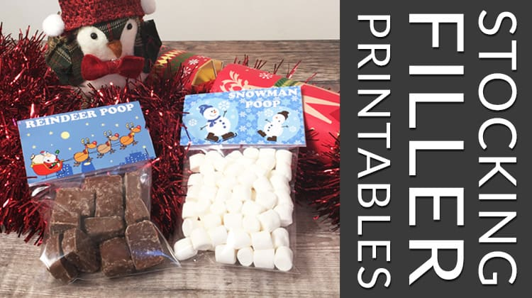 "Free printables for ""reindeer poop"" and ""snowman poop"" stocking fillers"