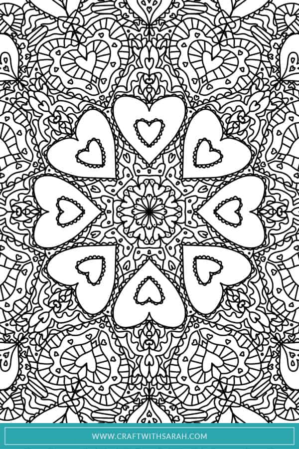 Hands up who loves Valentine's coloring sheets? I certainly do, which is why I designed this heart themed mandala to make the perfect adult coloring page printable. Download the Valentines coloring pages for free for the ultimate relaxing Valentine's Day. Print is as many times as you like to try out different Valentines colour schemes and Valentines colouring page ideas. #valentines #valentinesday #coloringpage #coloringsheet