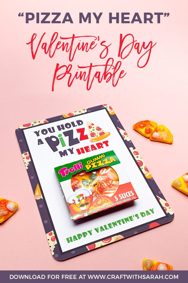 Funny Valentines Day printable gift for pizza lovers. You hold a pizza my heart. Print these funny Valentine's gifts and stick on a gummy pizza candy for the ultimate pizza themed Valentine's Day card.