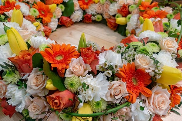 A spring floral wreath with fresh flowers