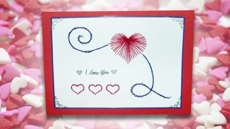 DIY Valentine's Day Card Stitching. Free printable pattern template.