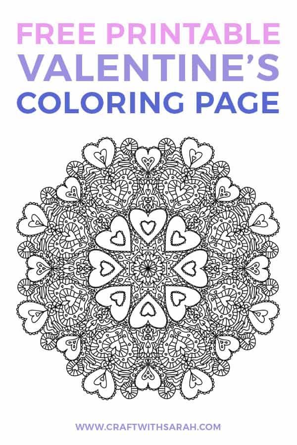 Free Valentine's Day Coloring Page. Download this free Valentines colouring page printable and colour in the mandala coloring template to your heart's content. #valentines #coloring #valentinesprintable