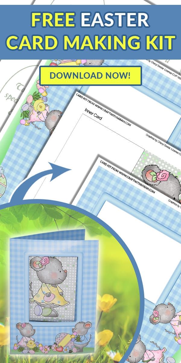 Easter Mice Card-in-a-Card. Download the free printable card making kit for your Easter card making projects. This cute Easter card is the perfect gift this Easter. Enjoy your card-in-a-card kit that you can print at home. #Eater #EasterCard #CardInACard #EasterCrafts