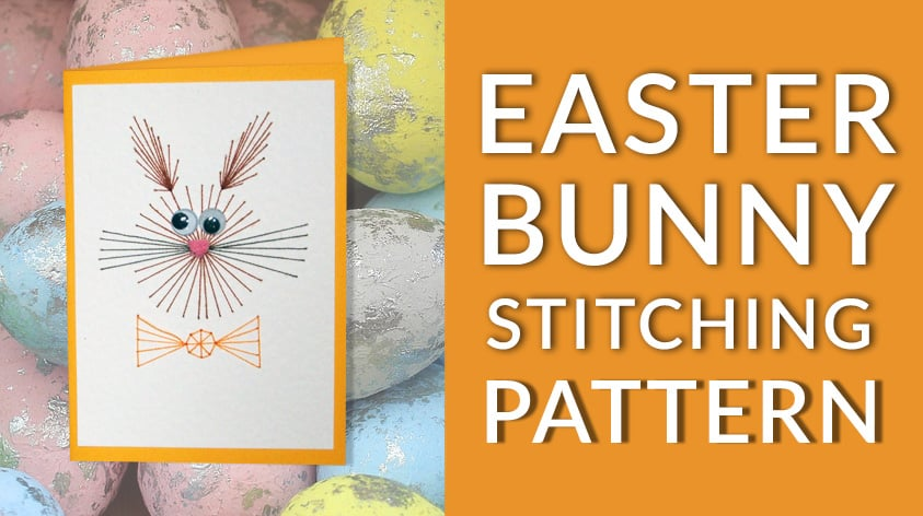 Free Easter Bunny stitching pattern for handmade cards and paper embroidery