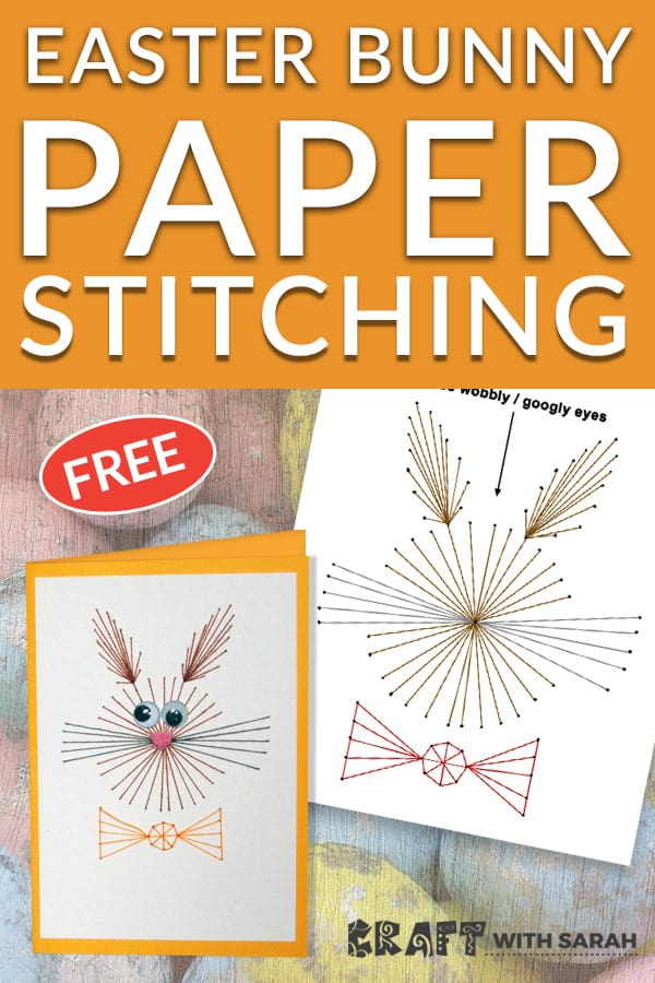 Easter bunny cards stitching pattern - free printable