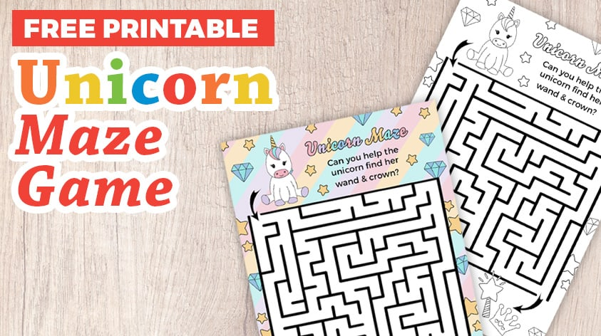Free Unicorn Maze Game Printable for Kids