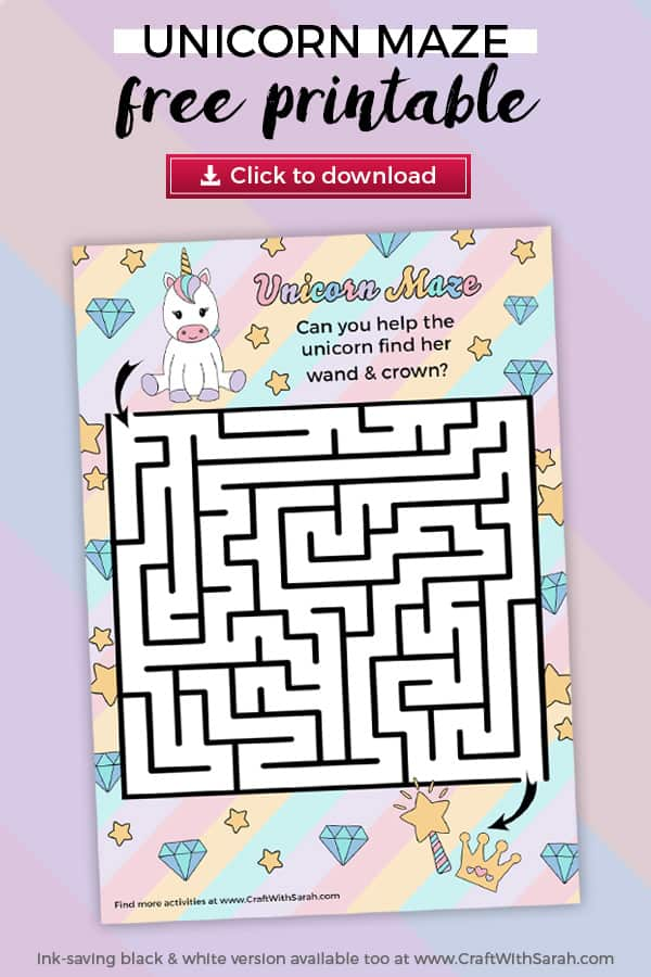 Kids love this free unicorn maze puzzle! Help the unicorn find her magical wand and crown by finding a path through the maze to solve the labyrinth puzzle. The free unicorn puzzle game comes in colour & ink-saving black-and-white which doubles up as a unicorn coloring page. Solve the unicorn labyrinth today! #unicorns #kidsactivity #freeprintable #maze #kidscraft
