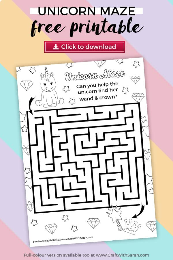 Unicorn coloring page puzzle game with labyrinth maze. Kids will love this free printable unicorn maze. The free unicorn puzzle game comes in colour & ink-saving black & white. Solve the unicorn labyrinth today!