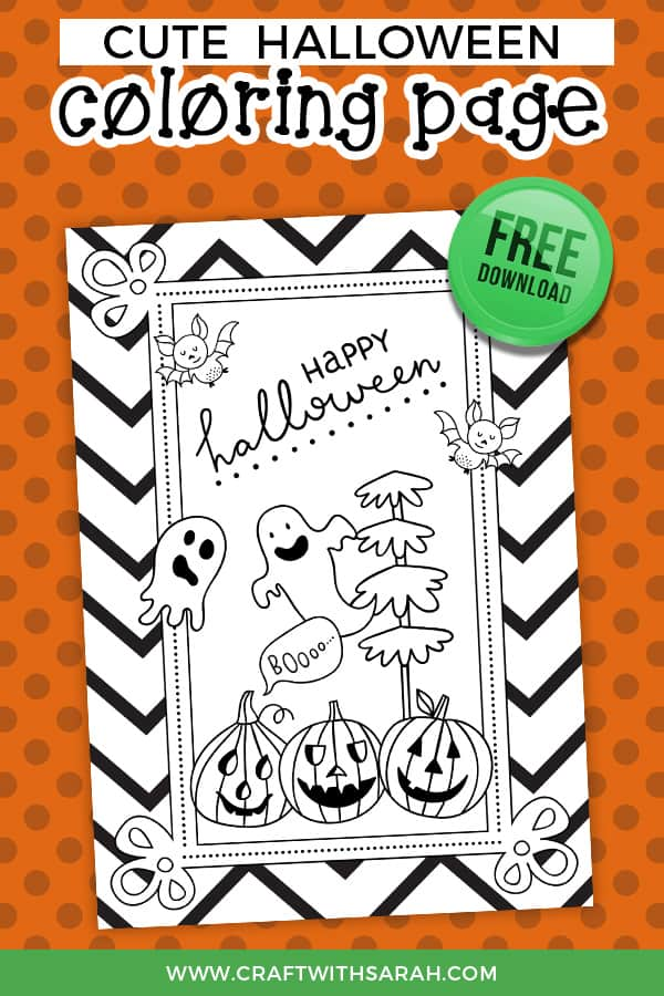 Halloween is almost upon us, and what better way to celebrate than with a spooky Halloween coloring page? Enjoy this fun Halloween coloring page printable with Pumpkins, ghosts and cute little bats. #halloween #halloweenprintable #halloweencrafts #coloringpages