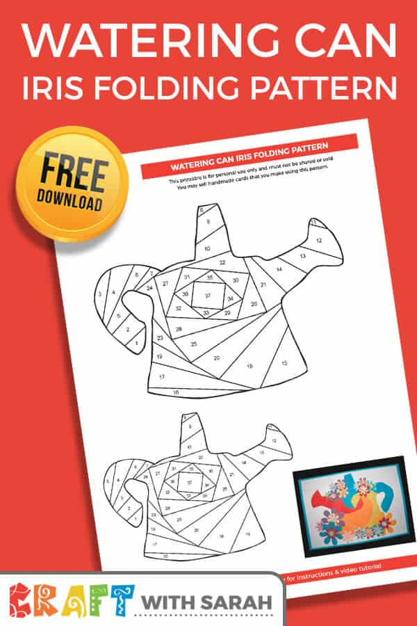 Download a FREE watering can iris folding pattern. This free watering can iris folding template comes in two sizes so you can make different sized greetings cards. A great iris folding pattern for beginners! #irisfolding #wateringcan #paperfolding