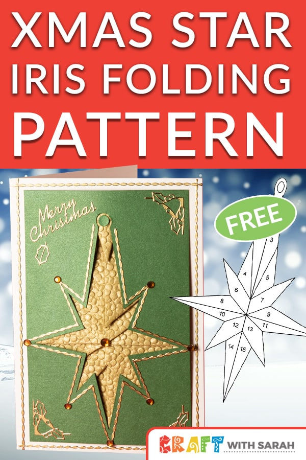 Christmas star fancy folding pattern. This free craft pattern is perfect for you if you like to iris folding. Fancy folding is the sister card making technique to iris folding. Try a new Christmas craft with this intricate star handmade card. #handmadecard #irisfolding #fancyfolding #craftwithsarah