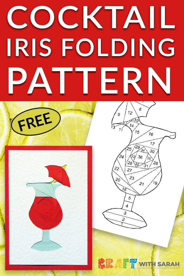 Celebrate Summer with this luscious cocktail iris folding pattern. Perfect for handmade cards for friends with summer birthdays if you enjoy pina colada together, or sipping Sangria on the beach. #irisfolding #cardmaking #cocktail