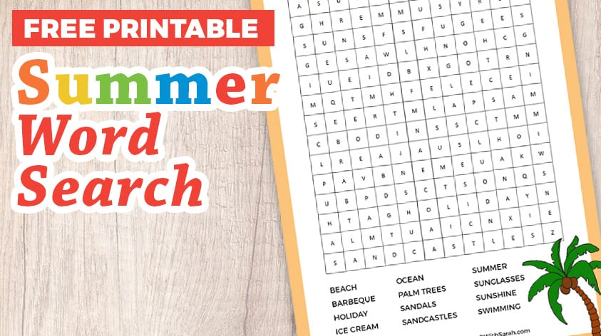 photo about Summer Word Search Printable called Totally free Summertime Wordsearch Printable Craft With Sarah