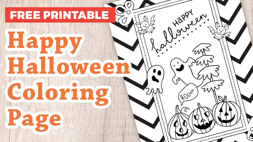 Happy Halloween Coloring Page Craft With Sarah