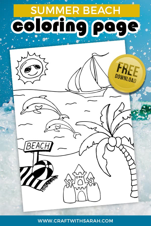 Summer Beach Coloring Page Craft With Sarah