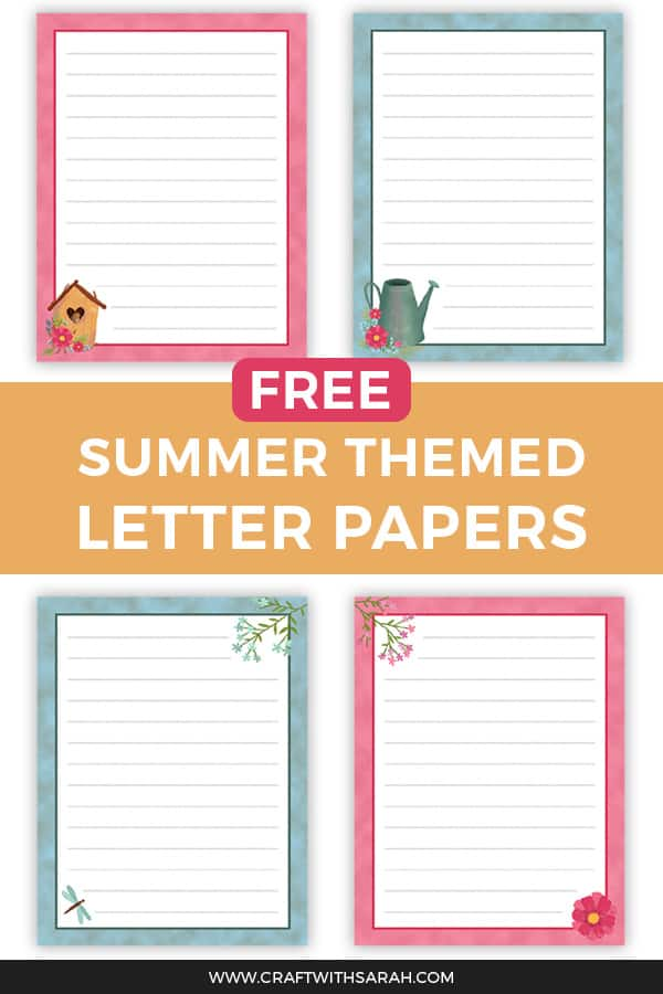 Write with style this summer with this summer writing paper set. Download four colourful writing paper designs, all in matching colours and with gorgeous watercolour graphics. Get your printable letter papers today! #letters #printables