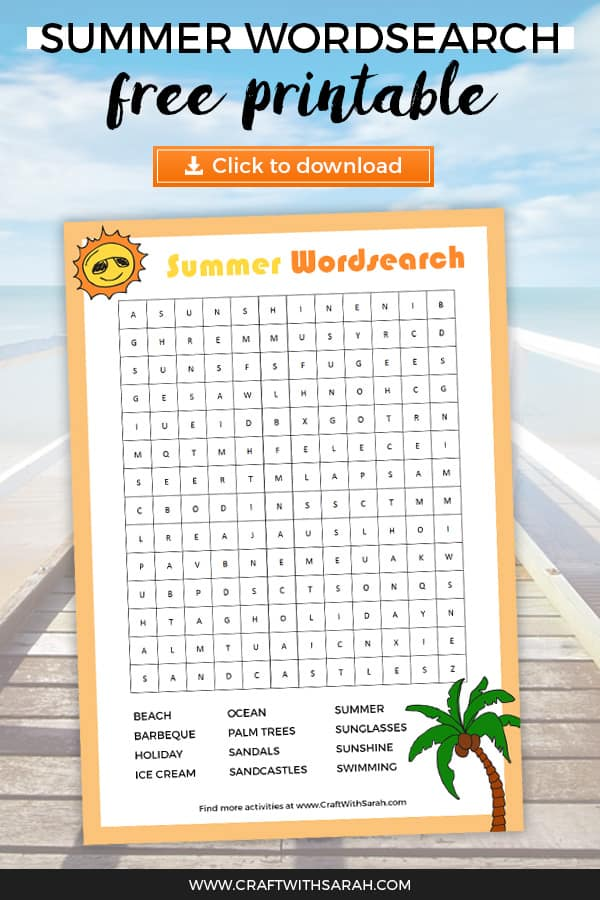 picture relating to Summer Word Search Printable known as Absolutely free Summer months Wordsearch Printable Craft With Sarah