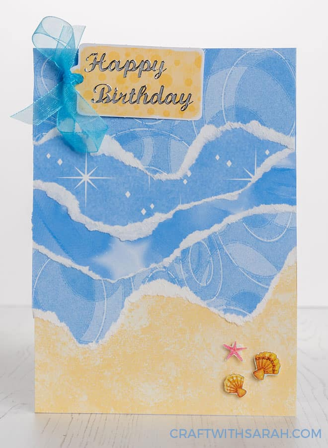 How to make a beach paper tear card. Easy handmade card tutorial for DIY summer cards.