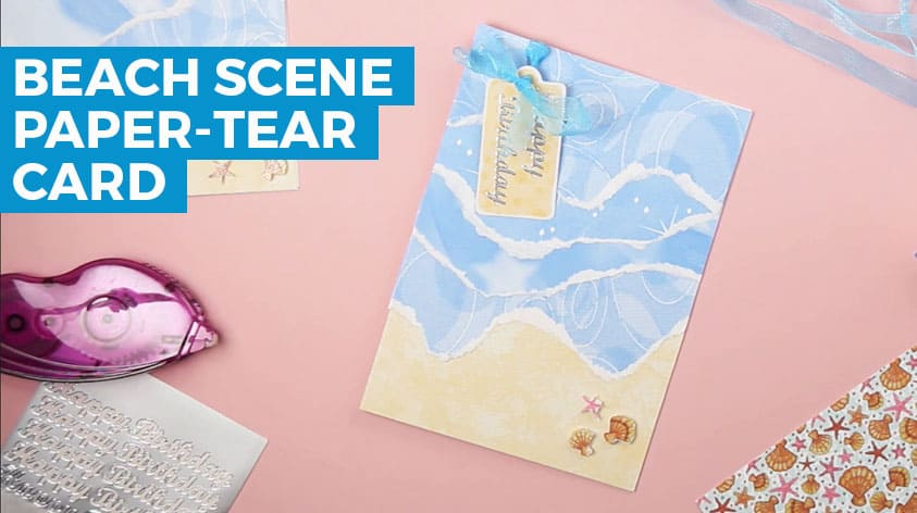 Beach Scene Paper Tear Card Project Craft With Sarah