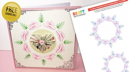 Free border paper embroidery pattern with a floral theme.