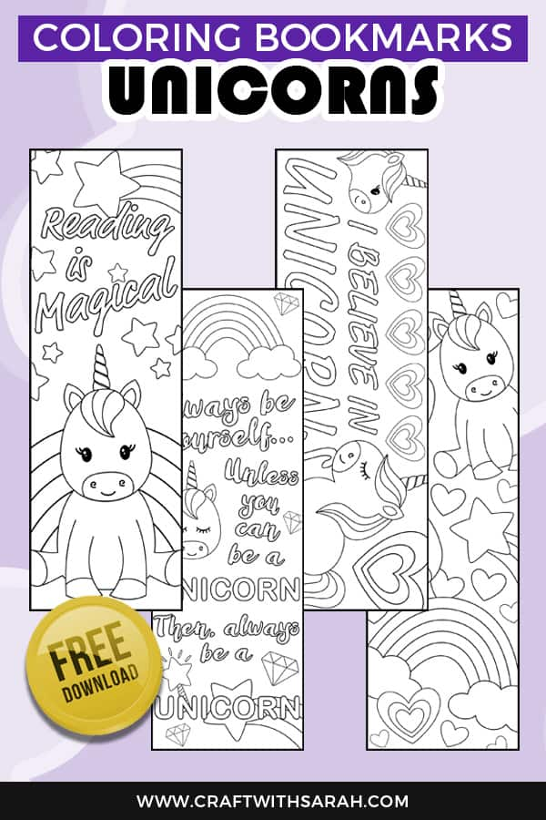 Free Unicorn Coloring Bookmarks to Print