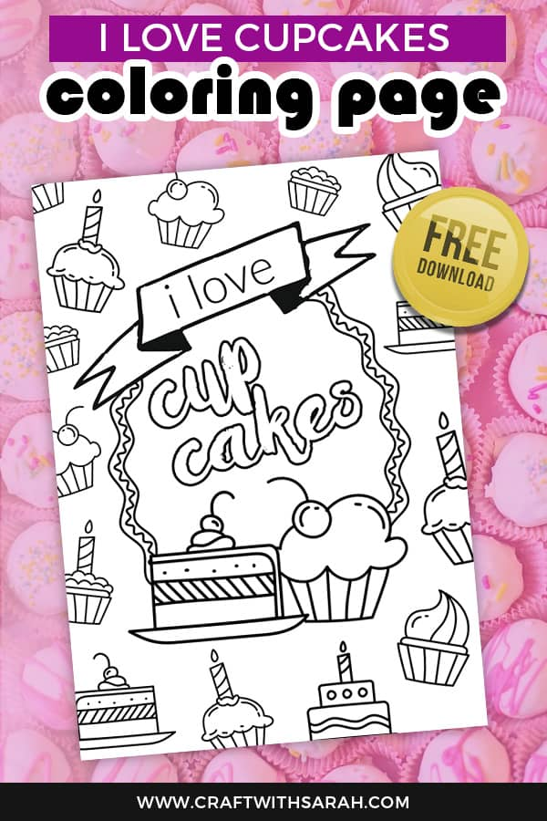 Showcase your love of cake with this 'I love cupcakes' coloring page to download for free. Free coloring page for cake lovers. #cupcakes #coloring #coloringtemplate #freeprintable
