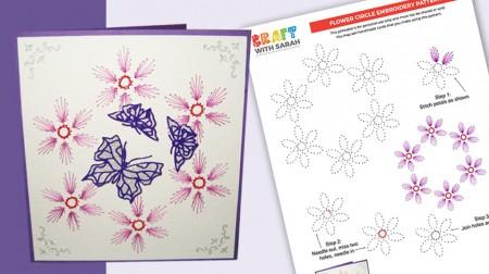 Flower Border Card Stitching Pattern