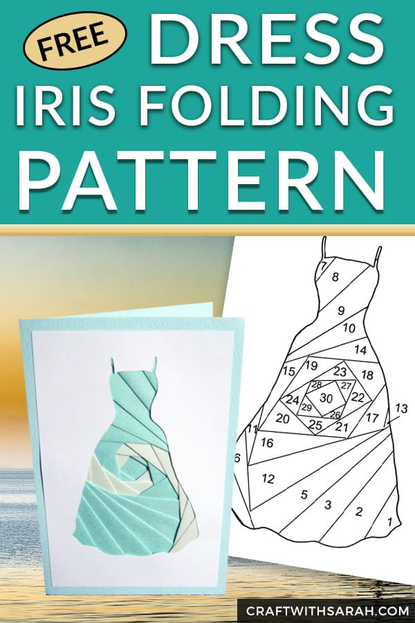 Free Dress Iris Folding Pattern. Get iris folding for your fashion-loving friends with this free dress iris folding pattern. Download this summer dress fashion iris folding pattern for beginners. #fashion #irisfolding #cardmaking #handmade