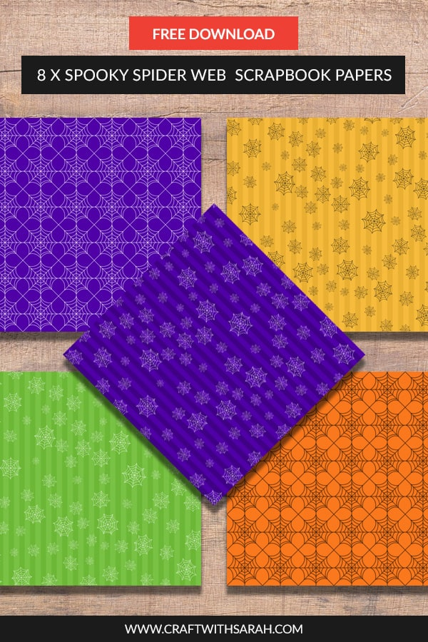 Add to your stash of #scrapbooking papers with this free collection of eight 12x12 inch bright coloured spooky spider Halloween scrapbook papers. #halloween #halloweencraft #scrapbook #freepapers