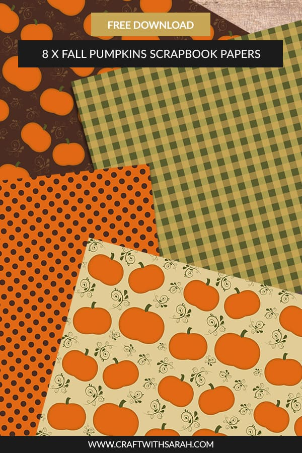 Free fall pumpkins scrapbook papers. Download this collection of #fall #pumpkin scrapbook papers. Free 12x12 inch scrapbook papers for your scrapbooking or card making craft projects. #halloween