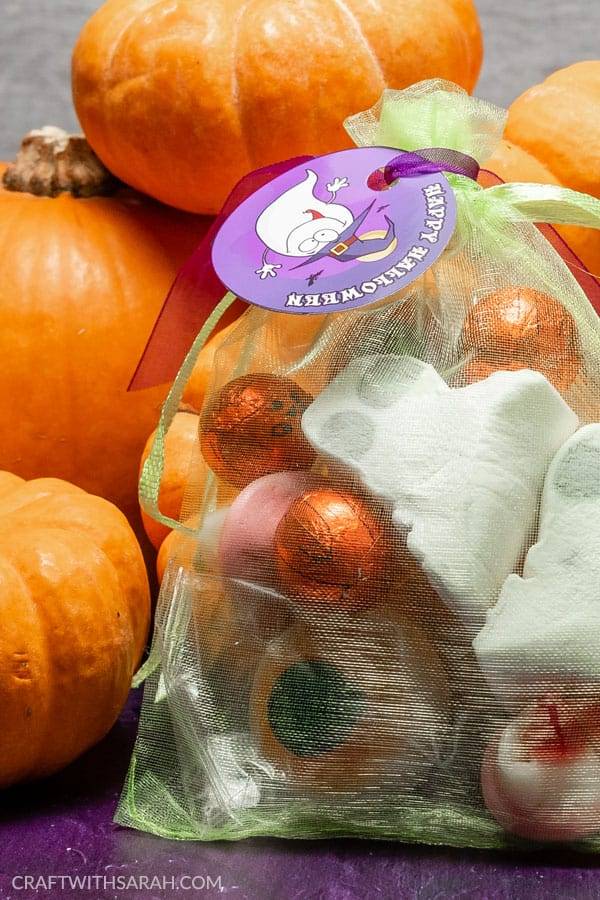 Homemade Halloween sweet bags for trick or treaters. Decorate your Halloween candy bags with these free printable badges and gift tags.