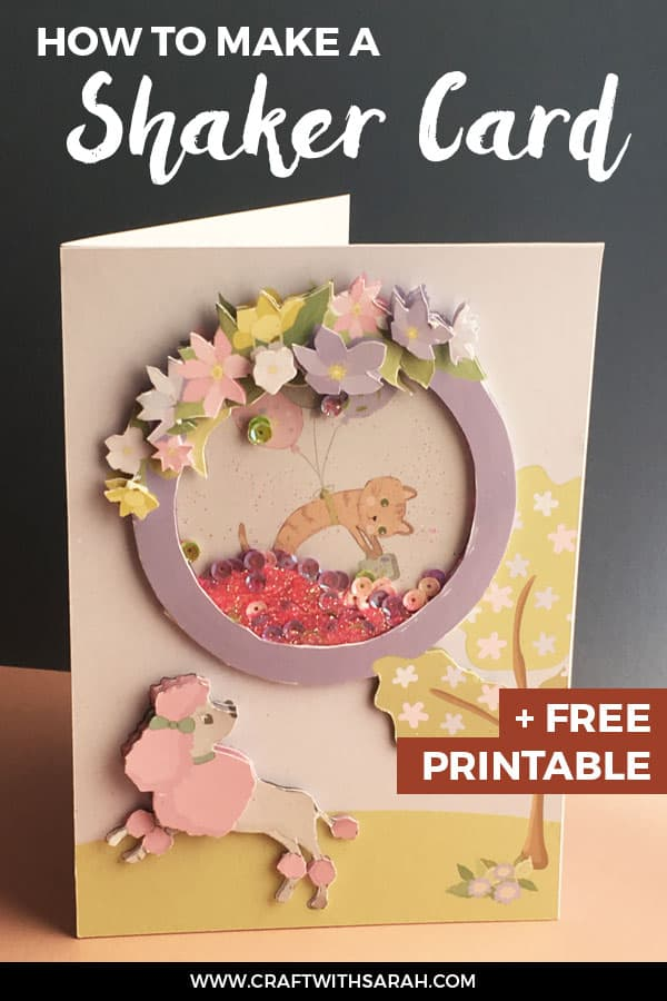 How to make a shaker card. Follow the shaker card tutorial to make this cute poodle handmade card. Sequins, glitter, dogs and cats - what could be better? Never made a shaker card before? Don't worry – full shaker card instructions are included! #cardmaking #shakercard #papercrafts