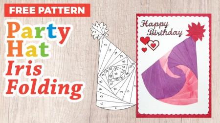 Party Hat Iris Folding Pattern for Birthdays