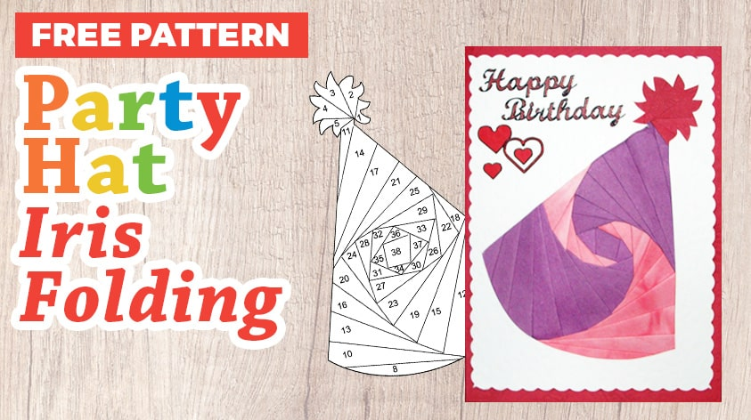 Party Hat Iris Folding Pattern for Birthdays