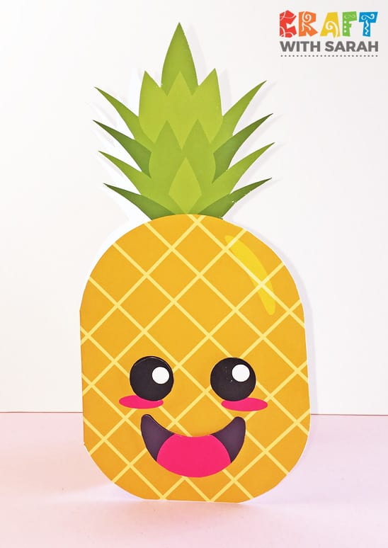 Kawaii pineapple shaped card - free template to download and print.