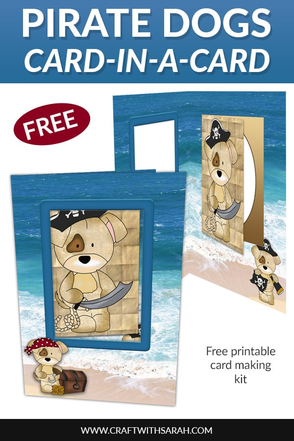 Make a greetings card that's perfect for pirate lovers with this free Pirate Dogs Card-in-a-Card craft kit. #pirates #talklikeapirateday #greetingscard