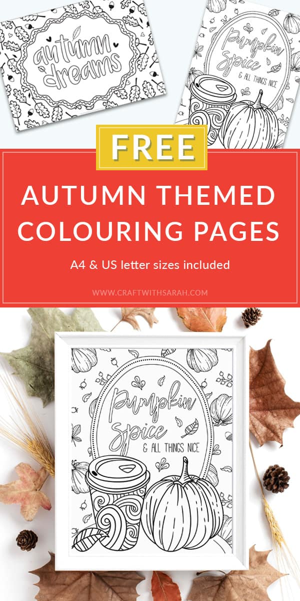 Pumpkin spice latte and Autumn Dreams free adult colouring pages to download and print. #adultcolouring #freeprintables