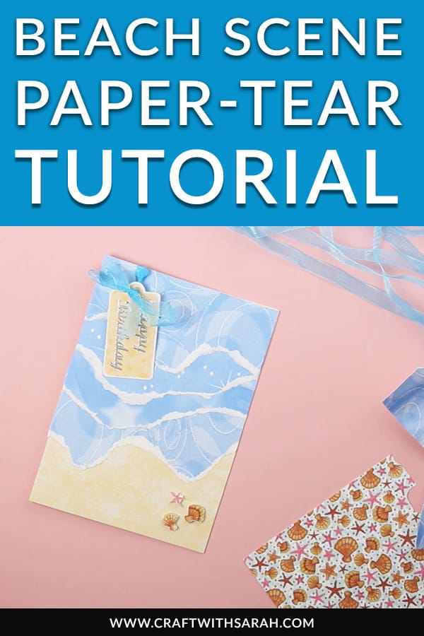 The sun is out and it's the middle of the summer, so today's project of a beach scene paper-tear card couldn't come at a better time! Follow the instructions to make this Beach Scene Paper-Tear Card Project. #summer #cardmaking #handmadecard #papertear