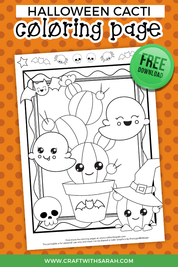 Halloween cacti coloring page to print