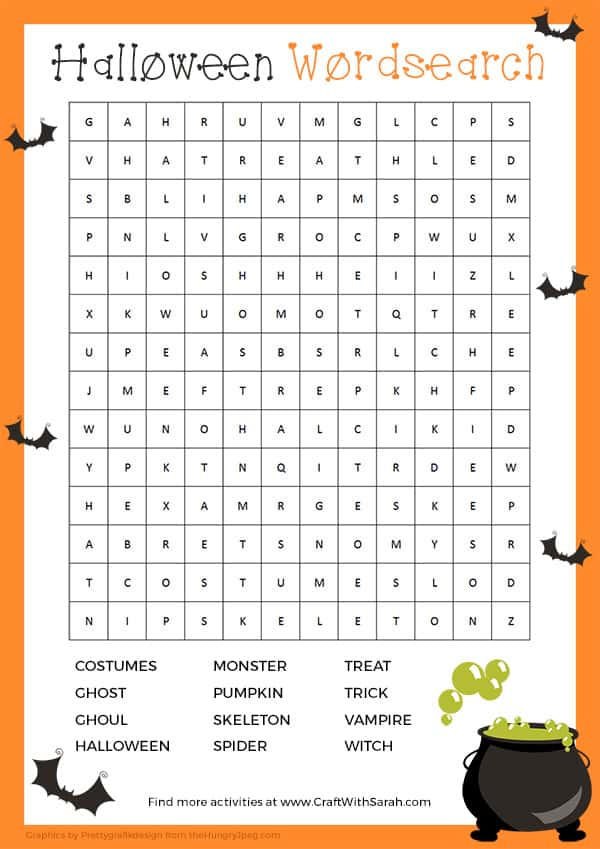 Can you find all twelve spooky words in this free printable Halloween Word Search for kids?