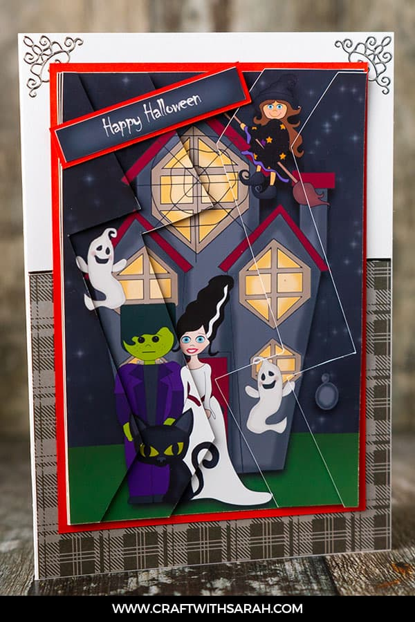 Haunted House Halloween Card. Craft a handmade card for Halloween with this unusual Haunted House printable design.