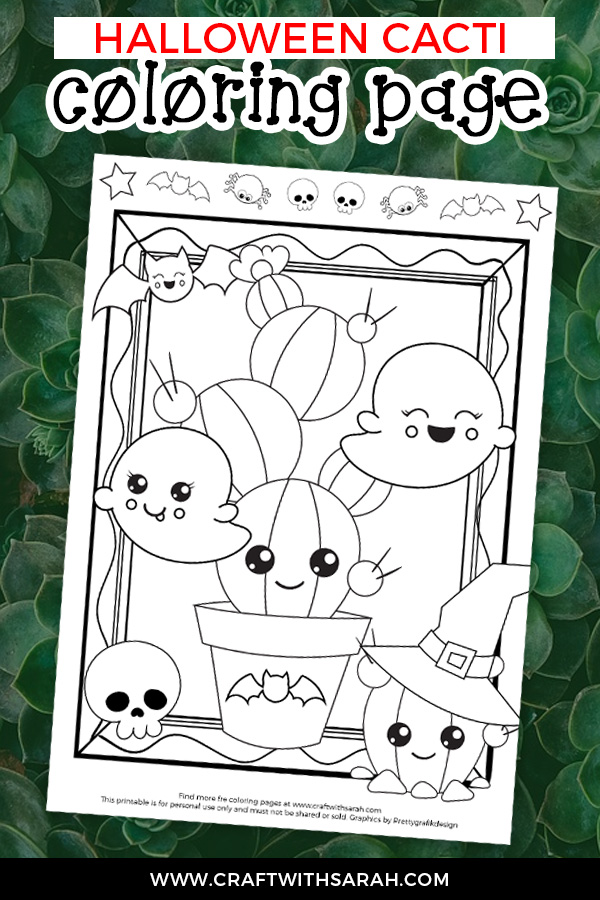 HOW adorable is this little Kawaii Cactus with all her spooky Halloween friends? Color your way to Halloween with this super-cute Kawaii Cacti coloring page to download and print at home. #coloring #cacti