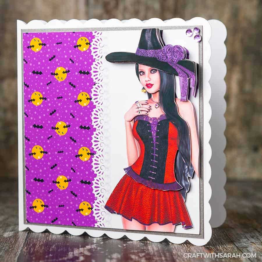Decoupage witch step-by-step card making printable for Halloween