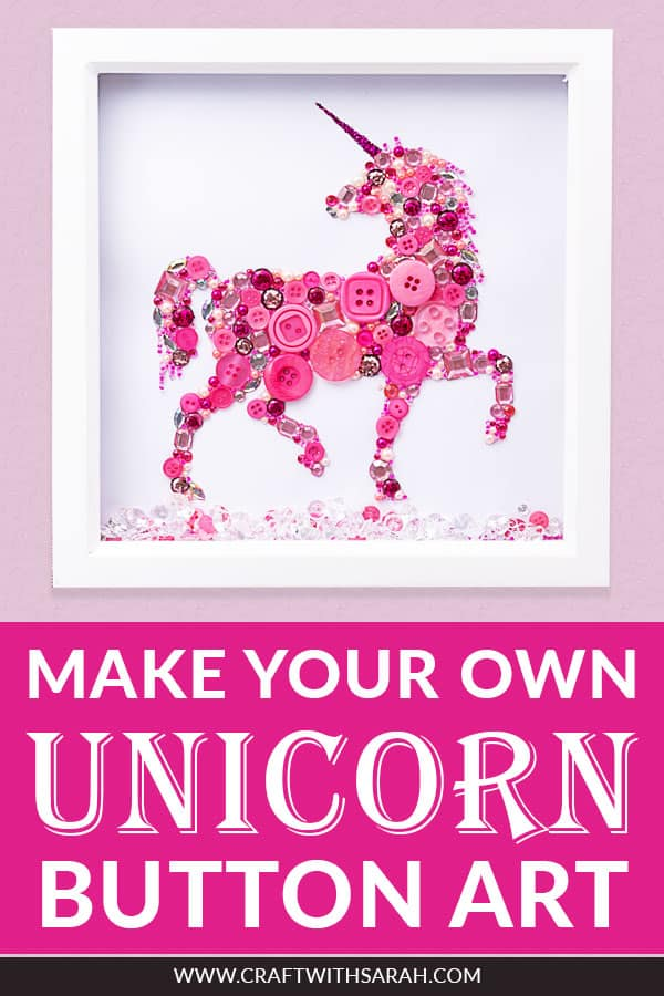 Make your own DIY unicorn button art frame for your child's bedroom. Unicorn shadow boxes are a fun craft activity for kids and adults alike. Learn how to make button art with this unicorn box frame tutorial. #buttons #unicorncrafts #shadowbox