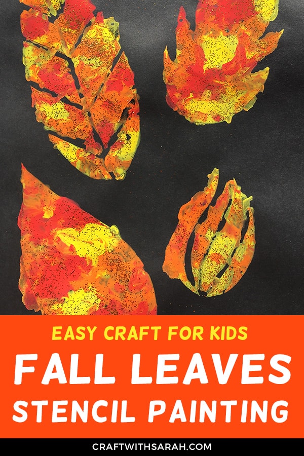 Easy fall craft for kids. Get your kids in the fall spirit with this easy fall leaves stencil painting craft. Download the free printable template to make your own leaf stencil. Paint with cotton wool for that extra-fun crafty experience! #fall #fallcrafts #kidscrafts