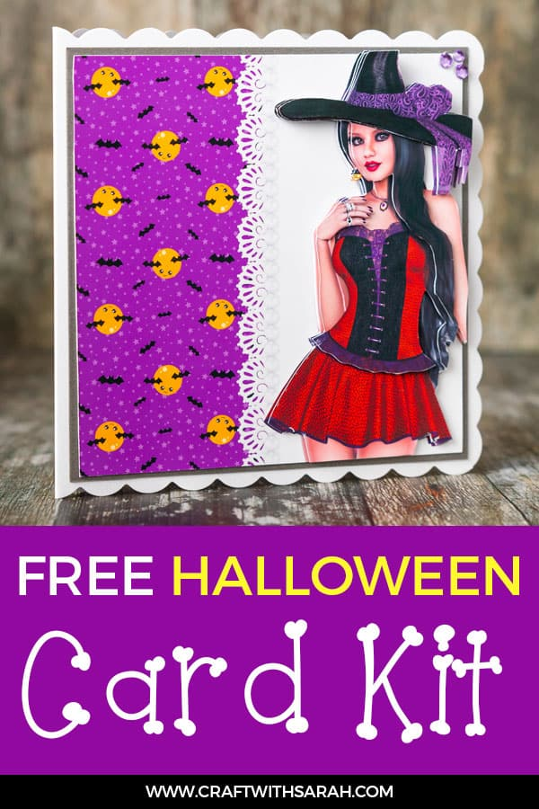 Pretty Witch Card Front & Decoupage Make a stunning handmade card for Halloween with this pretty witch decoupage sheet & square card front. #witchcard #decoupage